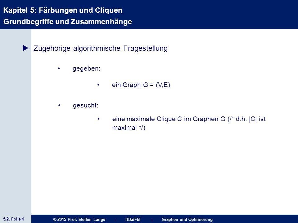 5/2, Folie 4 © 2015 Prof. Steffen Lange - HDa/FbI - Graphen und Optimierung Kapitel 5: Färbungen und Cliquen Grundbegriffe und Zusammenhänge  Zugehör