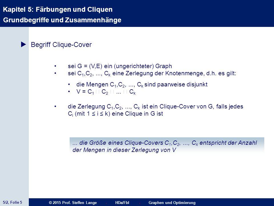 5/2, Folie 5 © 2015 Prof. Steffen Lange - HDa/FbI - Graphen und Optimierung Kapitel 5: Färbungen und Cliquen  Begriff Clique-Cover sei G = (V,E) ein