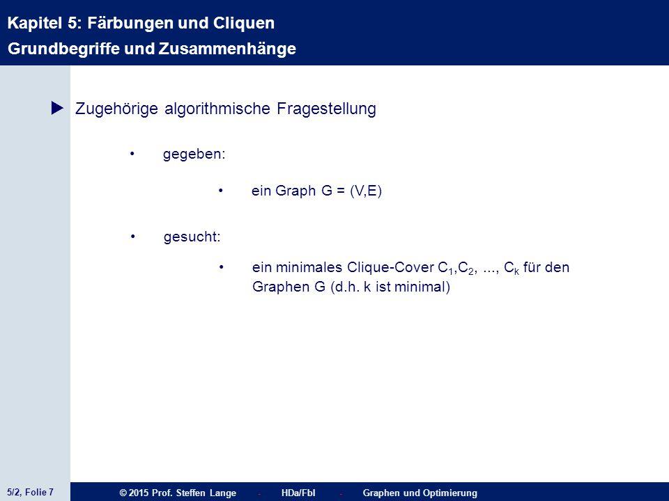 5/2, Folie 7 © 2015 Prof. Steffen Lange - HDa/FbI - Graphen und Optimierung Kapitel 5: Färbungen und Cliquen  Zugehörige algorithmische Fragestellung