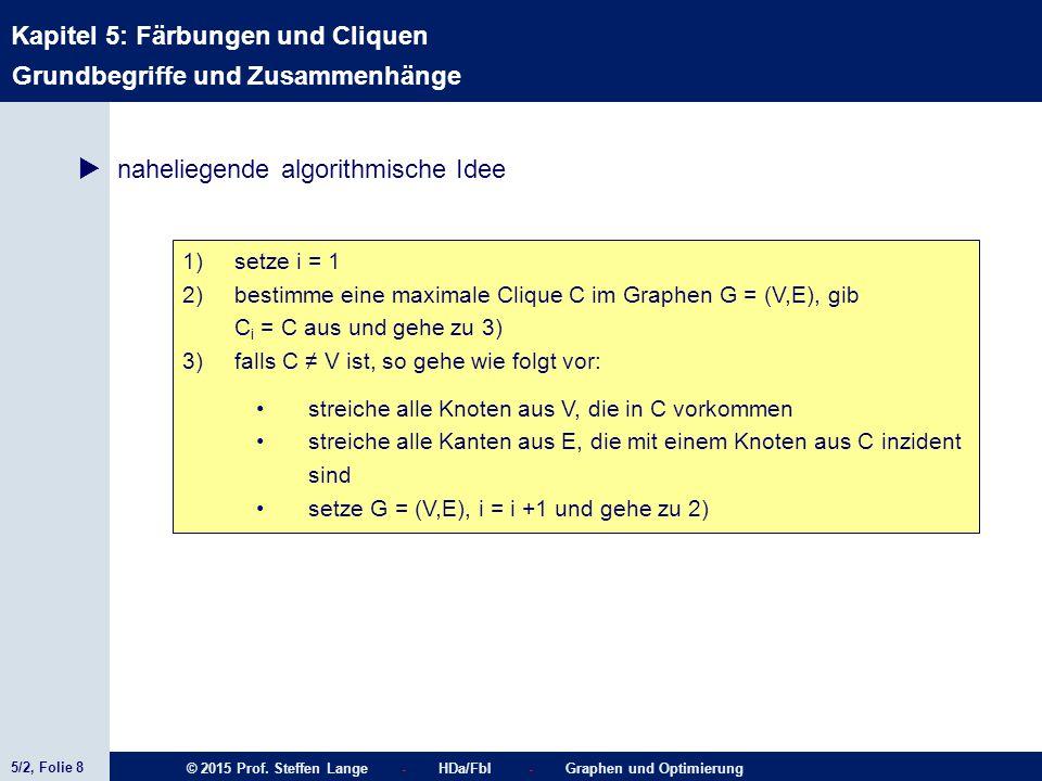 5/2, Folie 8 © 2015 Prof. Steffen Lange - HDa/FbI - Graphen und Optimierung Kapitel 5: Färbungen und Cliquen Grundbegriffe und Zusammenhänge  nahelie