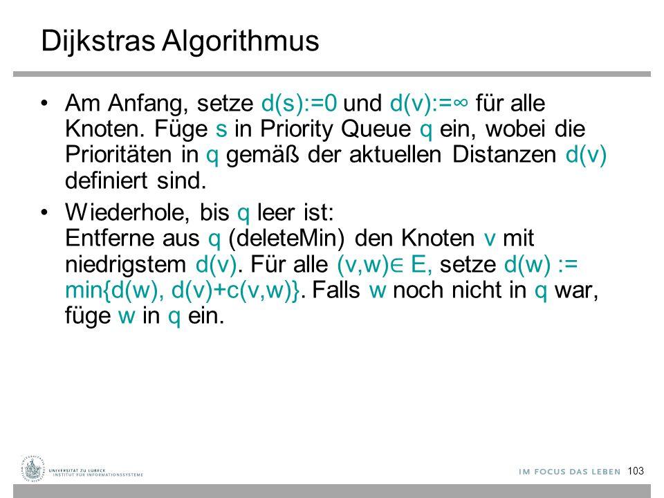 103 Dijkstras Algorithmus Am Anfang, setze d(s):=0 und d(v):=∞ für alle Knoten. Füge s in Priority Queue q ein, wobei die Prioritäten in q gemäß der a