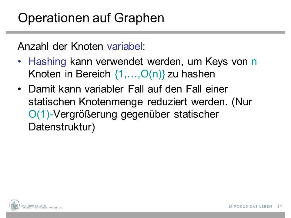 11 Operationen auf Graphen Anzahl der Knoten variabel: Hashing kann verwendet werden, um Keys von n Knoten in Bereich {1,…,O(n)} zu hashen Damit kann