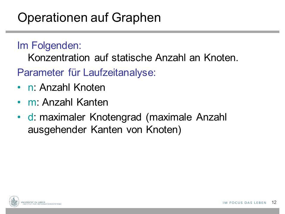 12 Operationen auf Graphen Im Folgenden: Konzentration auf statische Anzahl an Knoten. Parameter für Laufzeitanalyse: n: Anzahl Knoten m: Anzahl Kante