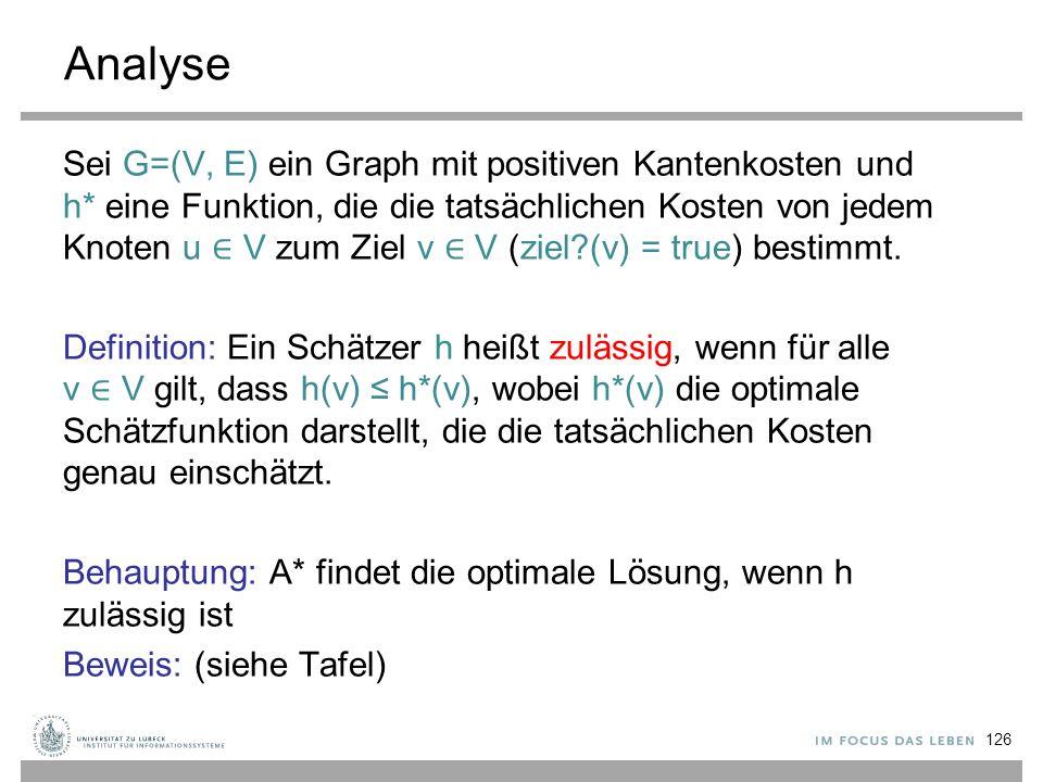 Analyse Sei G=(V, E) ein Graph mit positiven Kantenkosten und h* eine Funktion, die die tatsächlichen Kosten von jedem Knoten u ∈ V zum Ziel v ∈ V (zi