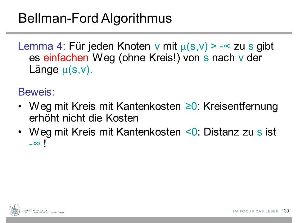 130 Bellman-Ford Algorithmus Lemma 4: Für jeden Knoten v mit  (s,v) > -∞ zu s gibt es einfachen Weg (ohne Kreis!) von s nach v der Länge  (s,v). Bew