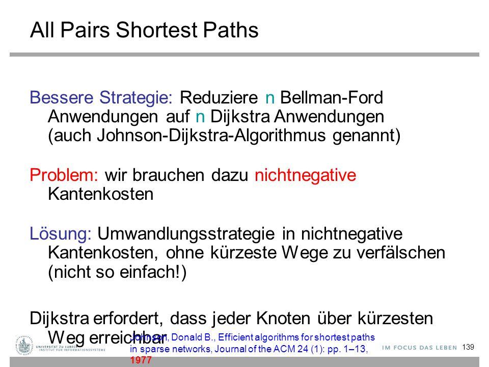 139 All Pairs Shortest Paths Bessere Strategie: Reduziere n Bellman-Ford Anwendungen auf n Dijkstra Anwendungen (auch Johnson-Dijkstra-Algorithmus gen