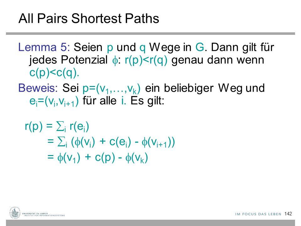 142 All Pairs Shortest Paths Lemma 5: Seien p und q Wege in G. Dann gilt für jedes Potenzial  : r(p)<r(q) genau dann wenn c(p)<c(q). Beweis: Sei p=(v