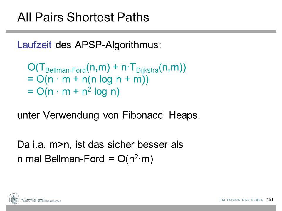 151 All Pairs Shortest Paths Laufzeit des APSP-Algorithmus: O(T Bellman-Ford (n,m) + n∙T Dijkstra (n,m)) = O(n ∙ m + n(n log n + m)) = O(n ∙ m + n 2 l