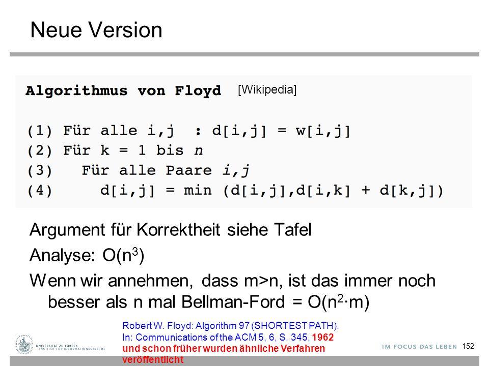 Neue Version Argument für Korrektheit siehe Tafel Analyse: O(n 3 ) Wenn wir annehmen, dass m>n, ist das immer noch besser als n mal Bellman-Ford = O(n