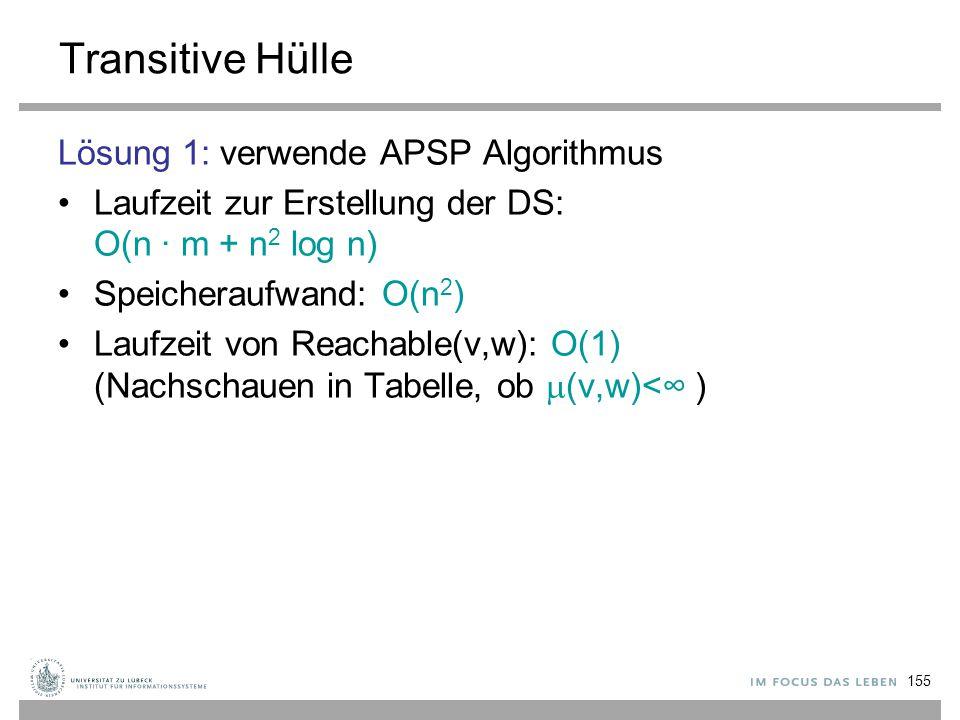 155 Transitive Hülle Lösung 1: verwende APSP Algorithmus Laufzeit zur Erstellung der DS: O(n ∙ m + n 2 log n) Speicheraufwand: O(n 2 ) Laufzeit von Re