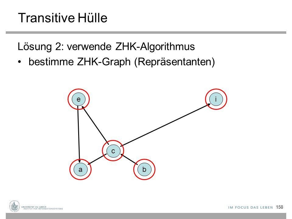 158 Transitive Hülle Lösung 2: verwende ZHK-Algorithmus bestimme ZHK-Graph (Repräsentanten) a c ie b