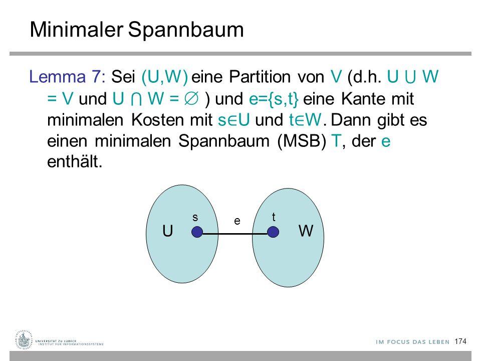 174 Minimaler Spannbaum Lemma 7: Sei (U,W) eine Partition von V (d.h. U ⋃ W = V und U ⋂ W =  ) und e={s,t} eine Kante mit minimalen Kosten mit s ∈ U