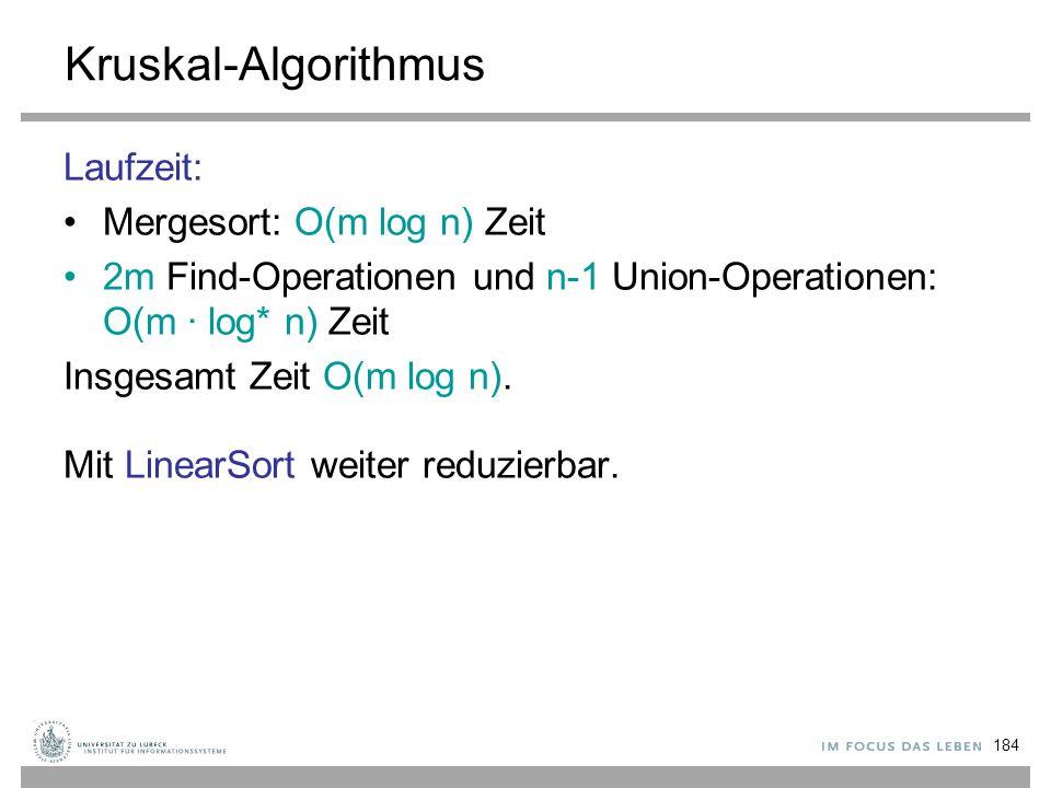 184 Kruskal-Algorithmus Laufzeit: Mergesort: O(m log n) Zeit 2m Find-Operationen und n-1 Union-Operationen: O(m ∙ log* n) Zeit Insgesamt Zeit O(m log