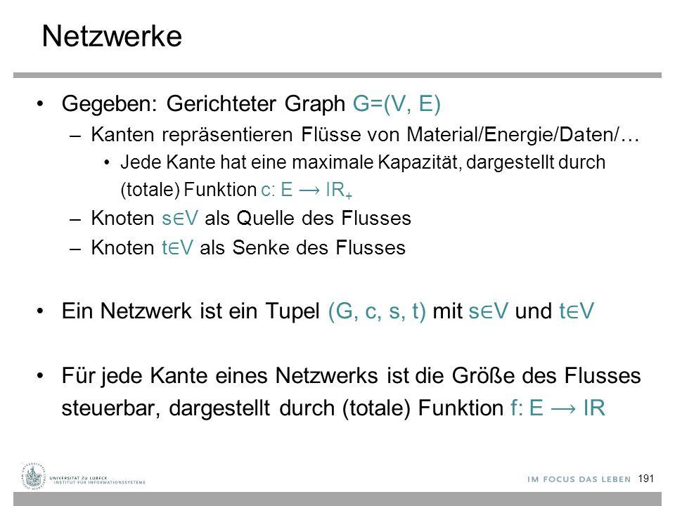 Netzwerke Gegeben: Gerichteter Graph G=(V, E) –Kanten repräsentieren Flüsse von Material/Energie/Daten/… Jede Kante hat eine maximale Kapazität, darge