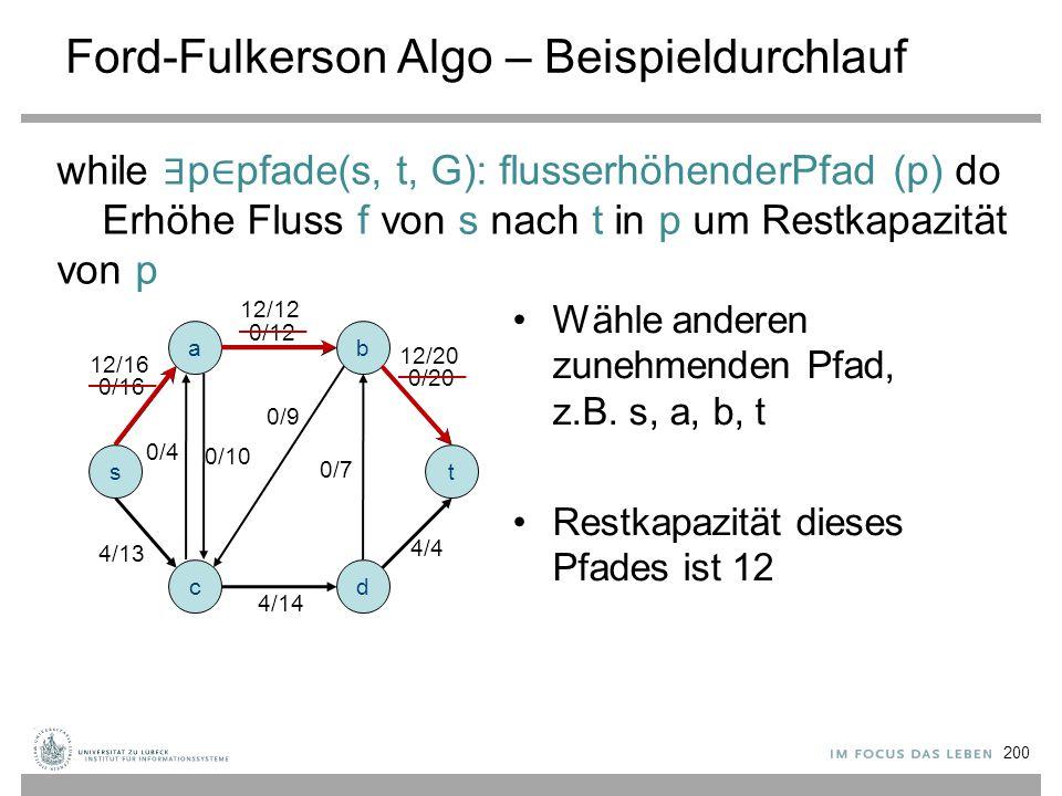 Ford-Fulkerson Algo – Beispieldurchlauf a s c b d t 0/12 0/16 0/9 0/4 0/10 0/7 0/20 4/14 4/4 4/13 12/12 12/16 12/20 Wähle anderen zunehmenden Pfad, z.
