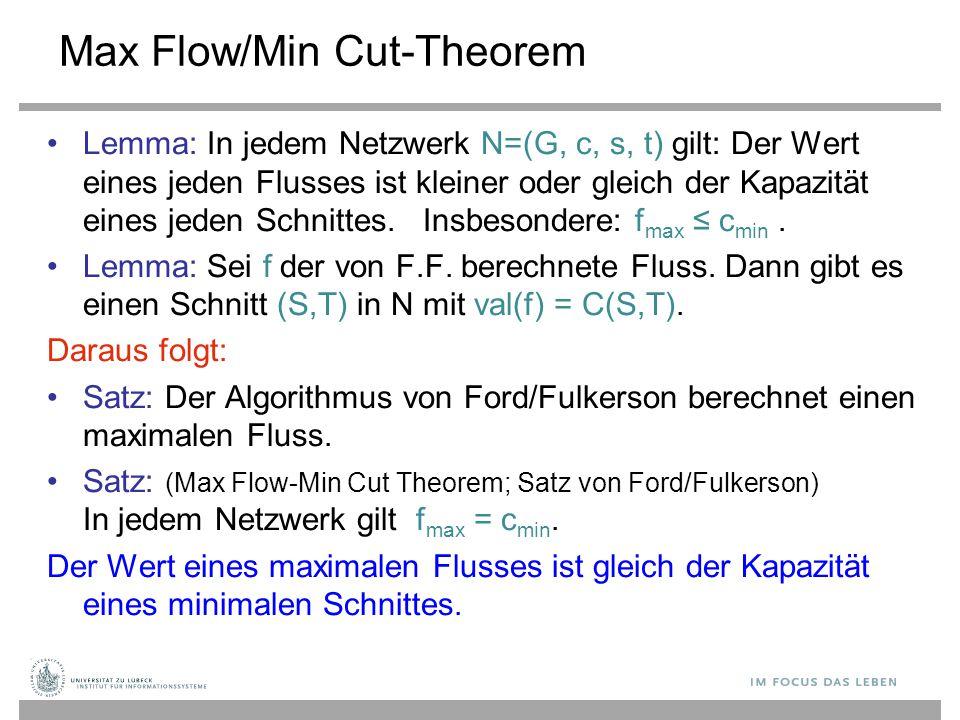 Max Flow/Min Cut-Theorem Lemma: In jedem Netzwerk N=(G, c, s, t) gilt: Der Wert eines jeden Flusses ist kleiner oder gleich der Kapazität eines jeden