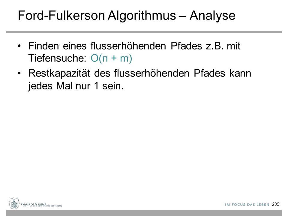 Ford-Fulkerson Algorithmus – Analyse Finden eines flusserhöhenden Pfades z.B. mit Tiefensuche: O(n + m) Restkapazität des flusserhöhenden Pfades kann