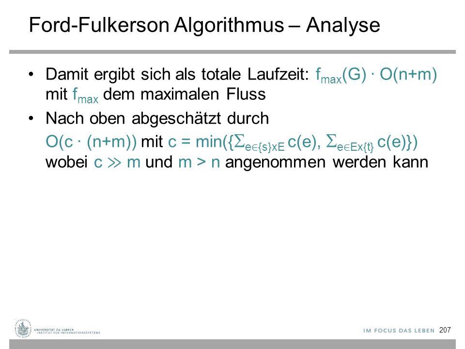 Ford-Fulkerson Algorithmus – Analyse Damit ergibt sich als totale Laufzeit: f max (G) ∙ O(n+m) mit f max dem maximalen Fluss Nach oben abgeschätzt dur