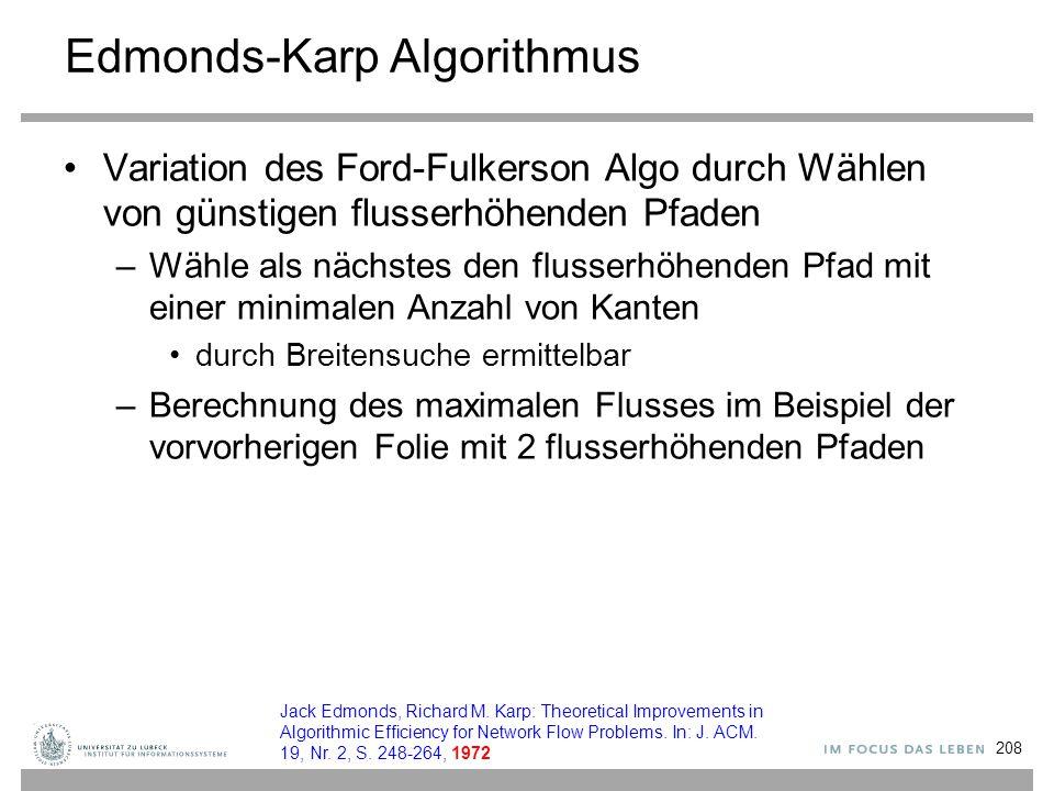 Edmonds-Karp Algorithmus Variation des Ford-Fulkerson Algo durch Wählen von günstigen flusserhöhenden Pfaden –Wähle als nächstes den flusserhöhenden P