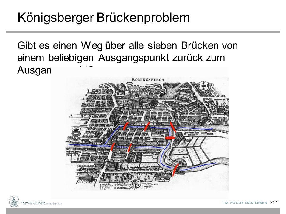 Königsberger Brückenproblem Gibt es einen Weg über alle sieben Brücken von einem beliebigen Ausgangspunkt zurück zum Ausgangspunkt? 217
