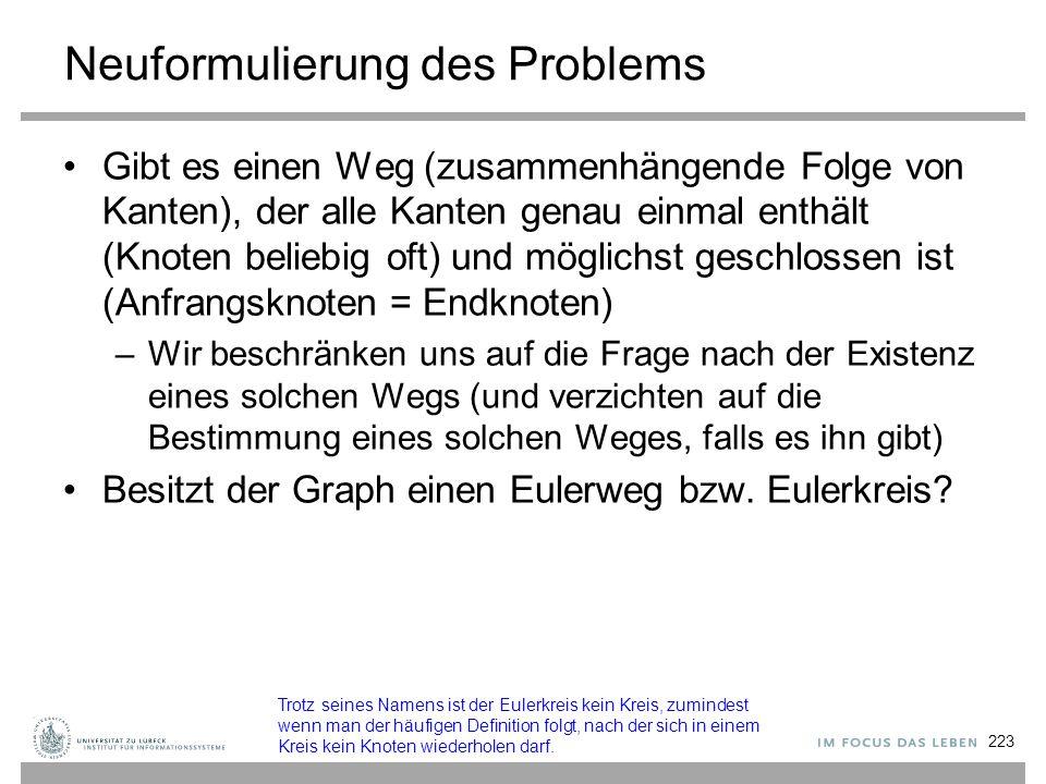 Neuformulierung des Problems Gibt es einen Weg (zusammenhängende Folge von Kanten), der alle Kanten genau einmal enthält (Knoten beliebig oft) und mög