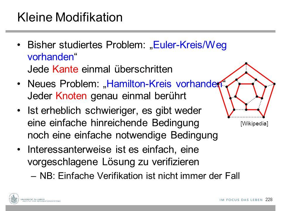 """Kleine Modifikation Bisher studiertes Problem: """"Euler-Kreis/Weg vorhanden"""" Jede Kante einmal überschritten Neues Problem: """"Hamilton-Kreis vorhanden"""" J"""
