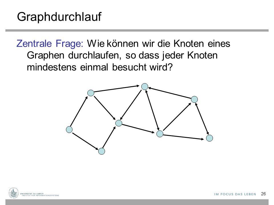 26 Graphdurchlauf Zentrale Frage: Wie können wir die Knoten eines Graphen durchlaufen, so dass jeder Knoten mindestens einmal besucht wird?