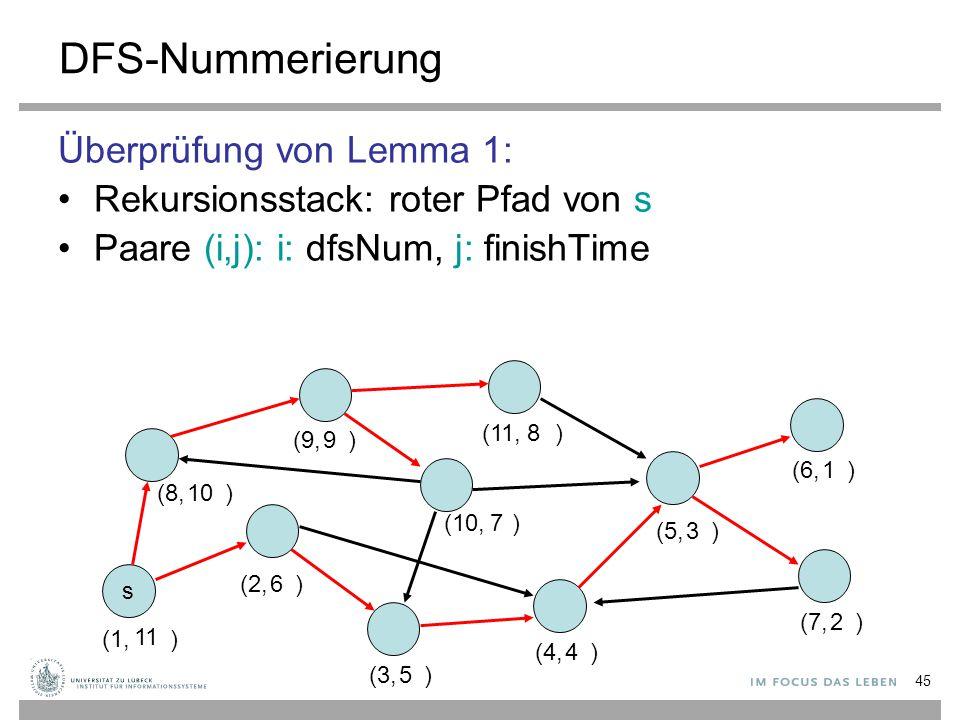 45 DFS-Nummerierung Überprüfung von Lemma 1: Rekursionsstack: roter Pfad von s Paare (i,j): i: dfsNum, j: finishTime s (1, ) (2, ) (3, ) (4, ) (5, ) (