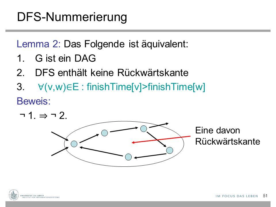51 DFS-Nummerierung Lemma 2: Das Folgende ist äquivalent: 1.G ist ein DAG 2.DFS enthält keine Rückwärtskante 3. ∀ (v,w) ∈ E : finishTime[v]>finishTime