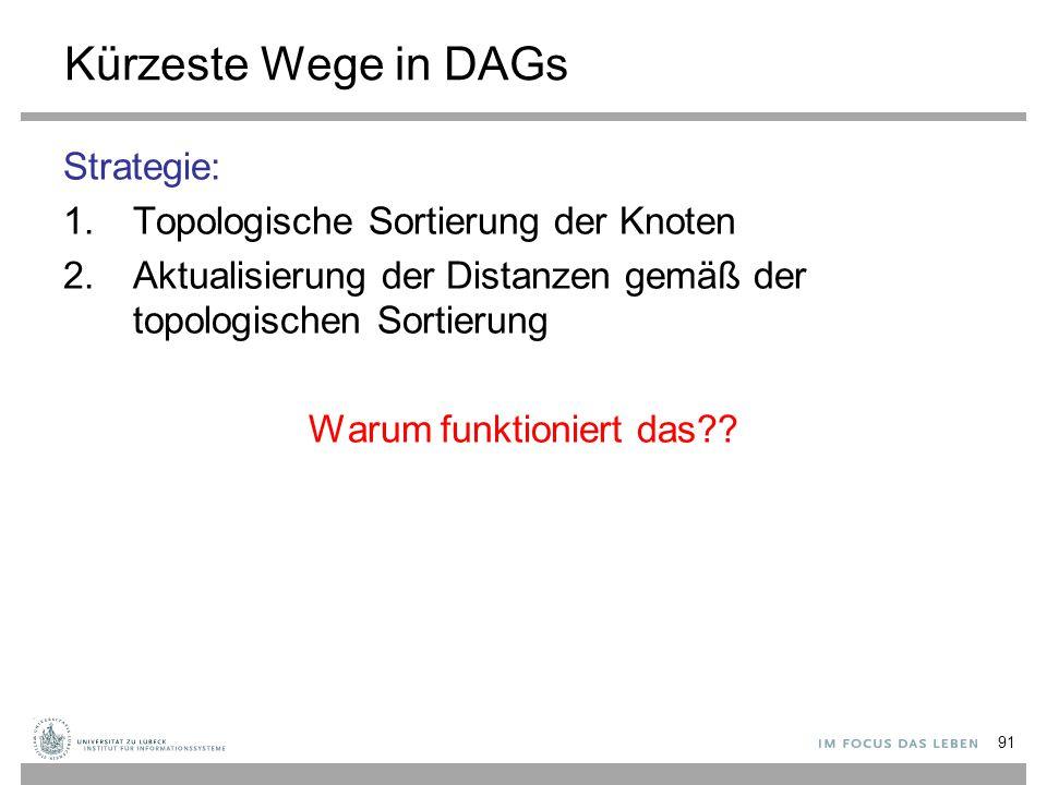91 Kürzeste Wege in DAGs Strategie: 1.Topologische Sortierung der Knoten 2.Aktualisierung der Distanzen gemäß der topologischen Sortierung Warum funkt