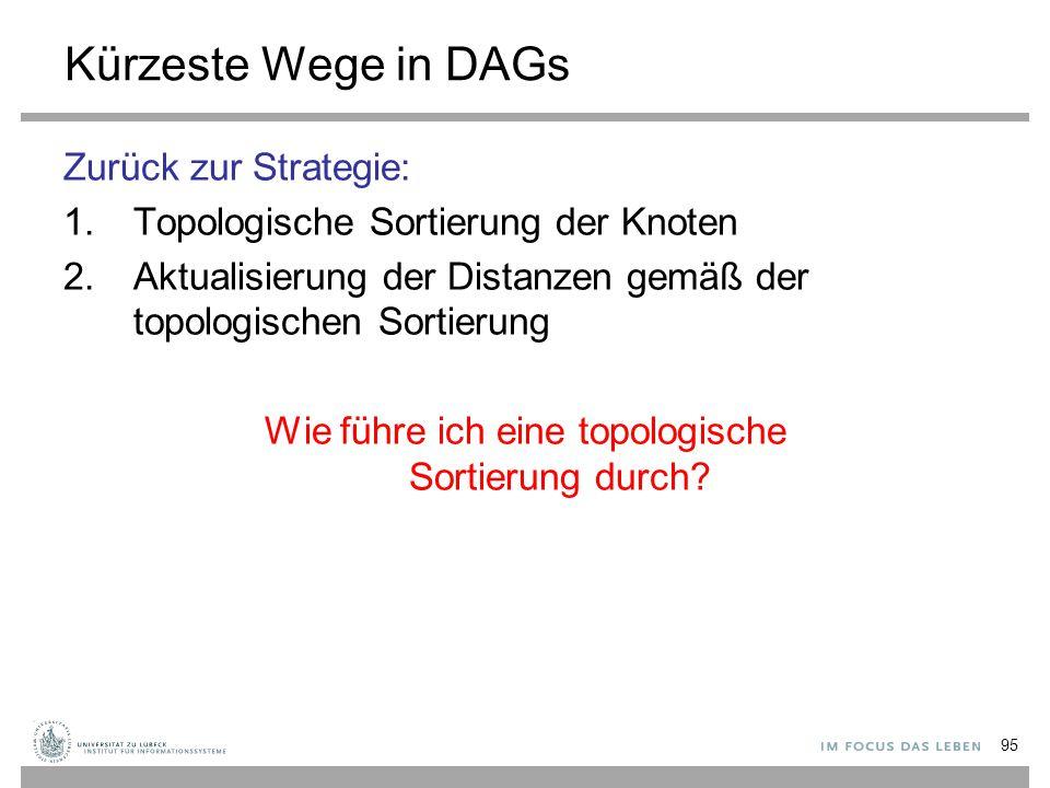 95 Kürzeste Wege in DAGs Zurück zur Strategie: 1.Topologische Sortierung der Knoten 2.Aktualisierung der Distanzen gemäß der topologischen Sortierung