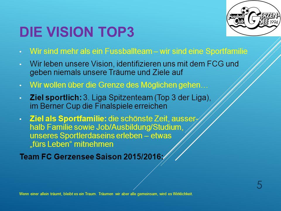 DIE VISION TOP3 Wir sind mehr als ein Fussballteam – wir sind eine Sportfamilie Wir leben unsere Vision, identifizieren uns mit dem FCG und geben niem