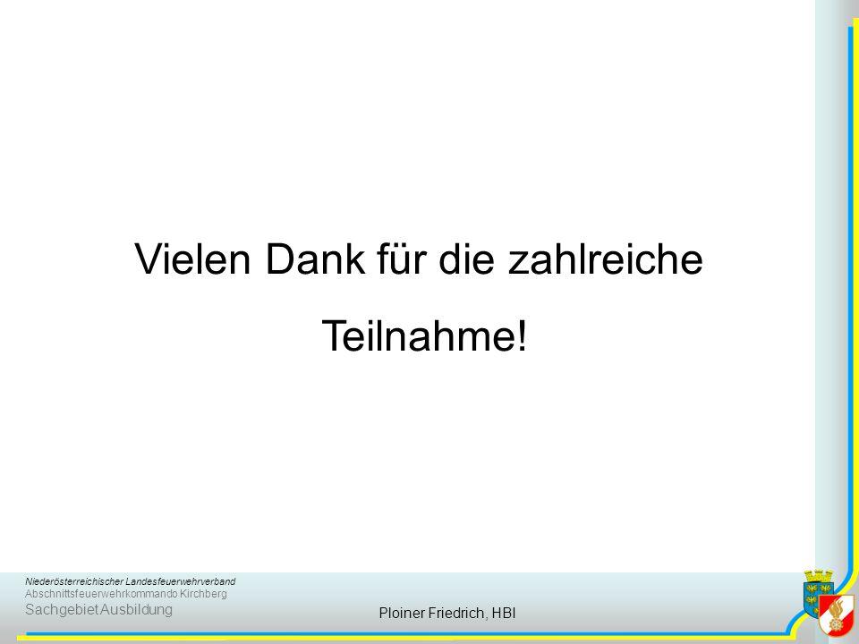 Niederösterreichischer Landesfeuerwehrverband Abschnittsfeuerwehrkommando Kirchberg Sachgebiet Ausbildung Ploiner Friedrich, HBI Vielen Dank für die zahlreiche Teilnahme!