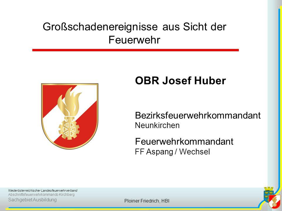 Niederösterreichischer Landesfeuerwehrverband Abschnittsfeuerwehrkommando Kirchberg Sachgebiet Ausbildung Ploiner Friedrich, HBI  viele Verletzte.