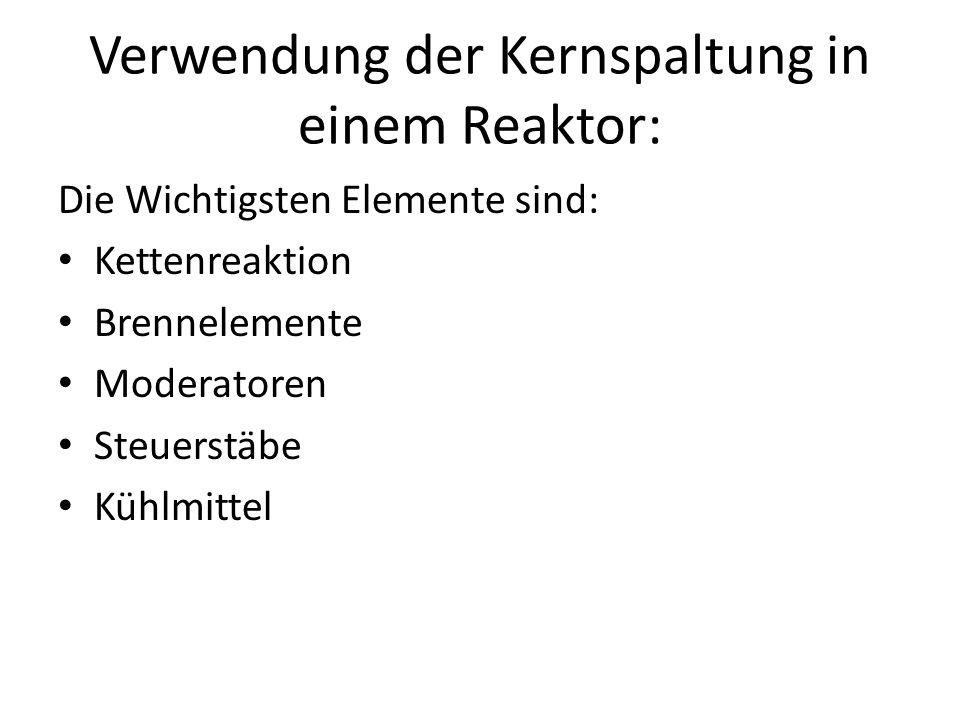Verwendung der Kernspaltung in einem Reaktor: Die Wichtigsten Elemente sind: Kettenreaktion Brennelemente Moderatoren Steuerstäbe Kühlmittel