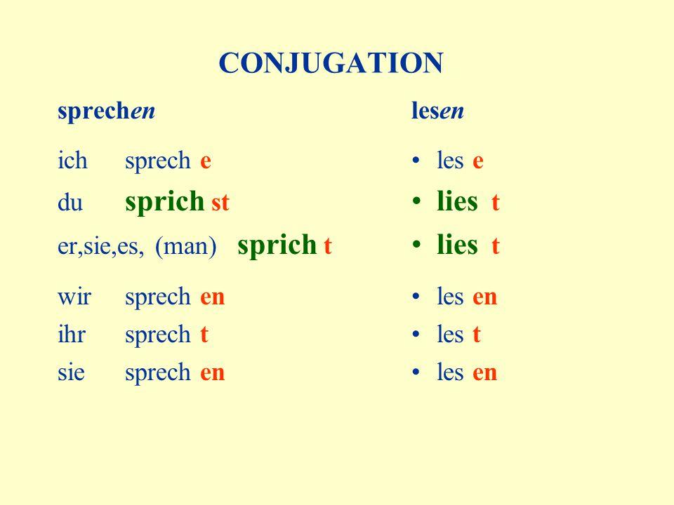 CONJUGATION sprechen ich sprech e du sprich st er,sie,es, (man) sprich t wir sprech en ihr sprech t sie sprech en lesen les e lies t les en les t les en