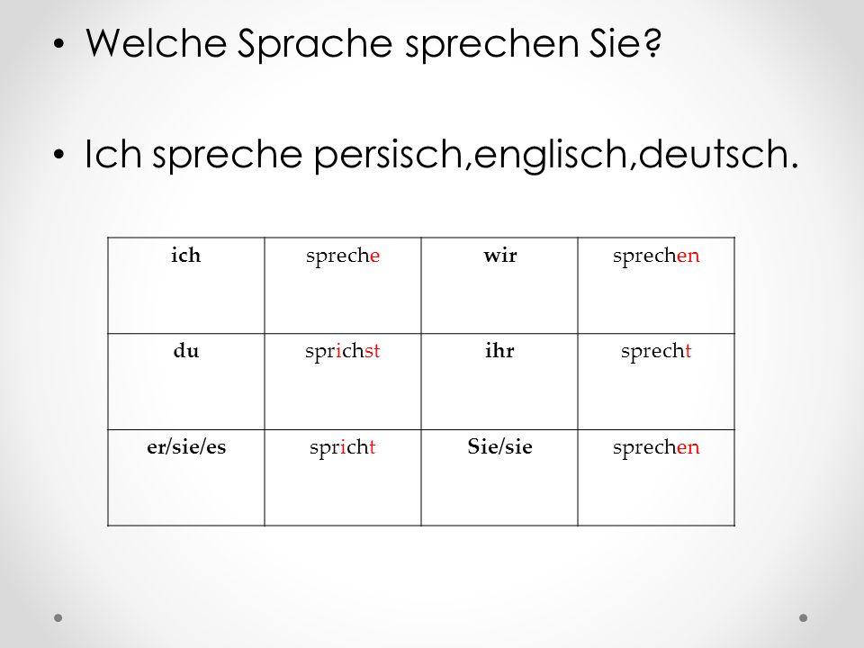 Welche Sprache sprechen Sie? Ich spreche persisch,englisch,deutsch. ichsprechewirsprechen dusprichstihrsprecht er/sie/essprichtSie/siesprechen
