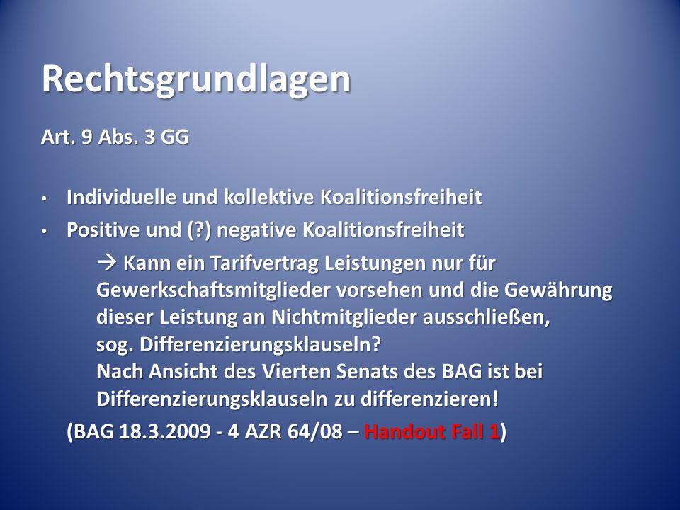 Rechtsgrundlagen Art. 9 Abs. 3 GG Individuelle und kollektive Koalitionsfreiheit Individuelle und kollektive Koalitionsfreiheit Positive und (?) negat