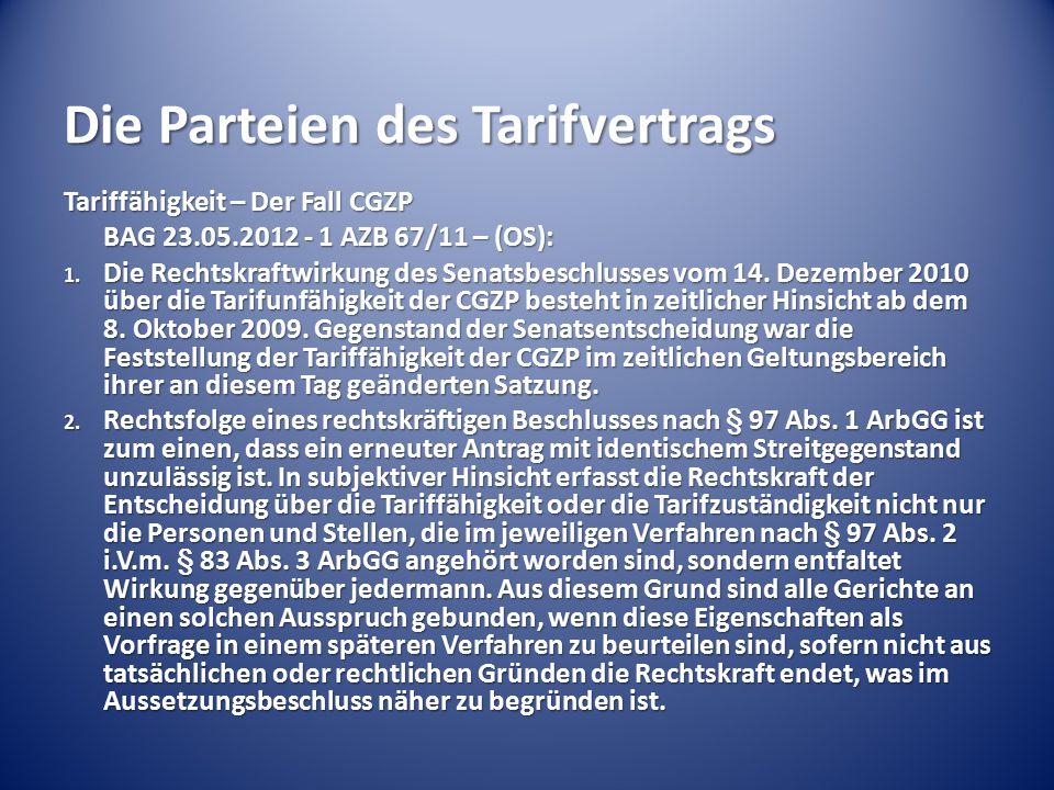 Die Parteien des Tarifvertrags Tariffähigkeit – Der Fall CGZP BAG 23.05.2012 - 1 AZB 67/11 – (OS): 1. Die Rechtskraftwirkung des Senatsbeschlusses vom