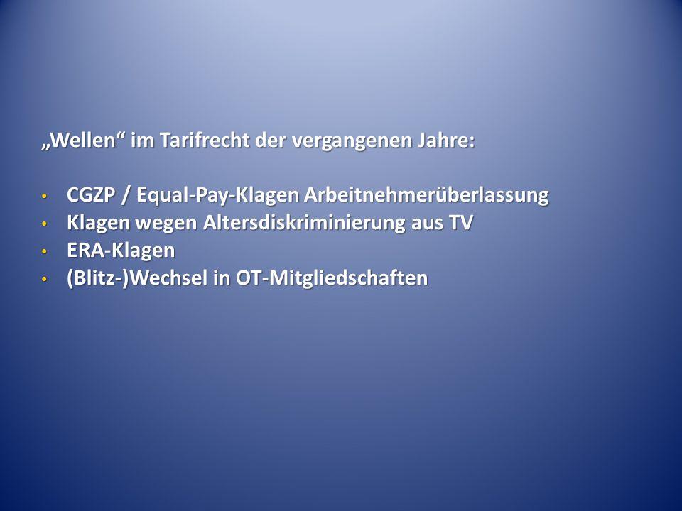 """""""Wellen"""" im Tarifrecht der vergangenen Jahre: CGZP / Equal-Pay-Klagen Arbeitnehmerüberlassung CGZP / Equal-Pay-Klagen Arbeitnehmerüberlassung Klagen w"""