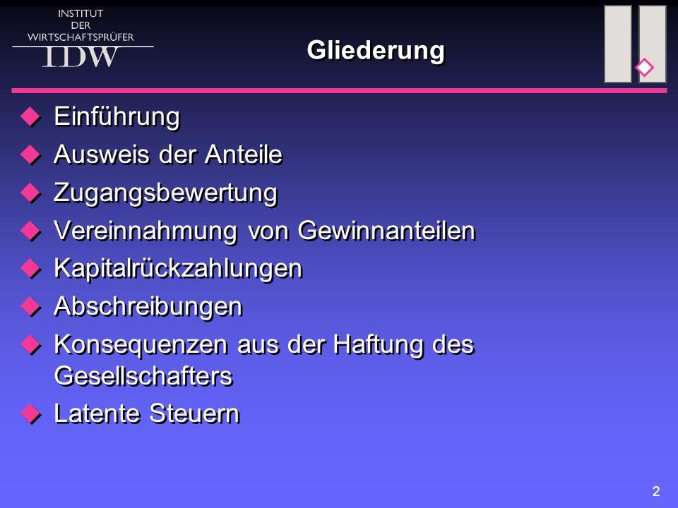 23 Konsequenzen aus der Haftung des Gesellschafters (1)  Haftung nach §§ 128, 171, 172 Absatz 4 HGB Rückstellungsbildung nach allg.