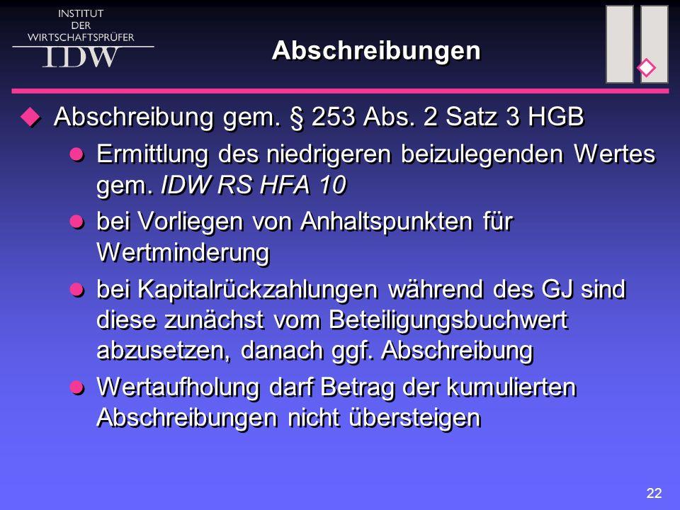 22 Abschreibungen  Abschreibung gem. § 253 Abs. 2 Satz 3 HGB Ermittlung des niedrigeren beizulegenden Wertes gem. IDW RS HFA 10 bei Vorliegen von Anh