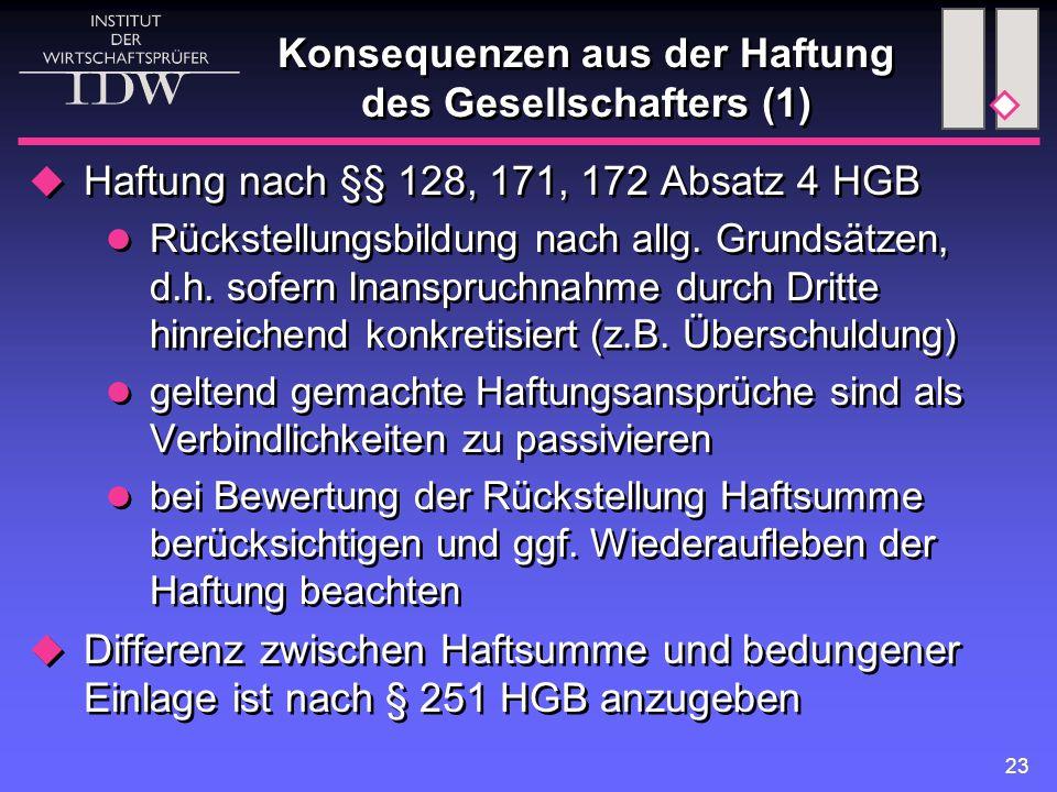 23 Konsequenzen aus der Haftung des Gesellschafters (1)  Haftung nach §§ 128, 171, 172 Absatz 4 HGB Rückstellungsbildung nach allg. Grundsätzen, d.h.