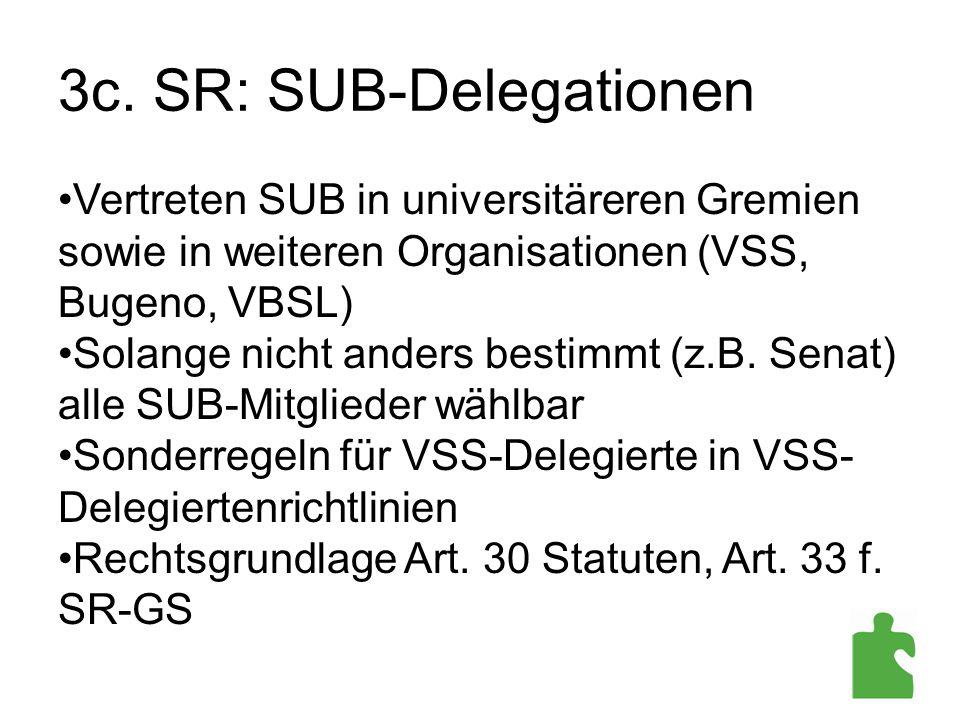 3c. SR: SUB-Delegationen Vertreten SUB in universitäreren Gremien sowie in weiteren Organisationen (VSS, Bugeno, VBSL) Solange nicht anders bestimmt (