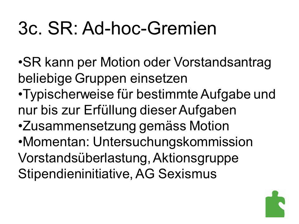 3c. SR: Ad-hoc-Gremien SR kann per Motion oder Vorstandsantrag beliebige Gruppen einsetzen Typischerweise für bestimmte Aufgabe und nur bis zur Erfüll