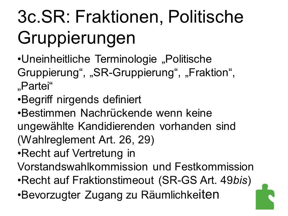 """3c.SR: Fraktionen, Politische Gruppierungen Uneinheitliche Terminologie """"Politische Gruppierung"""", """"SR-Gruppierung"""", """"Fraktion"""", """"Partei"""" Begriff nirge"""