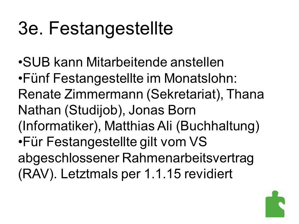 3e. Festangestellte SUB kann Mitarbeitende anstellen Fünf Festangestellte im Monatslohn: Renate Zimmermann (Sekretariat), Thana Nathan (Studijob), Jon