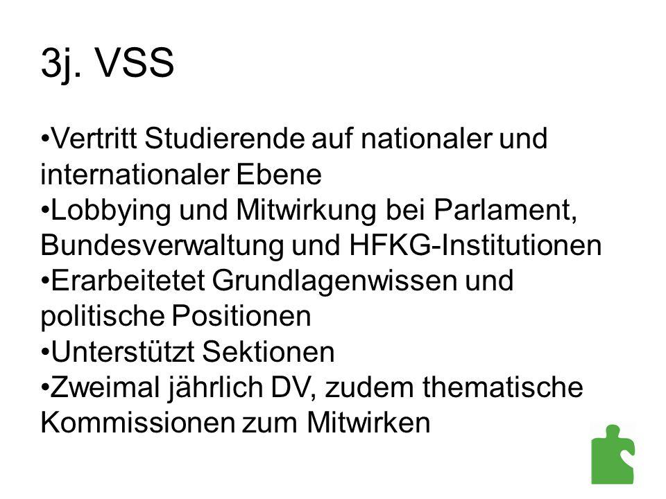 3j. VSS Vertritt Studierende auf nationaler und internationaler Ebene Lobbying und Mitwirkung bei Parlament, Bundesverwaltung und HFKG-Institutionen E