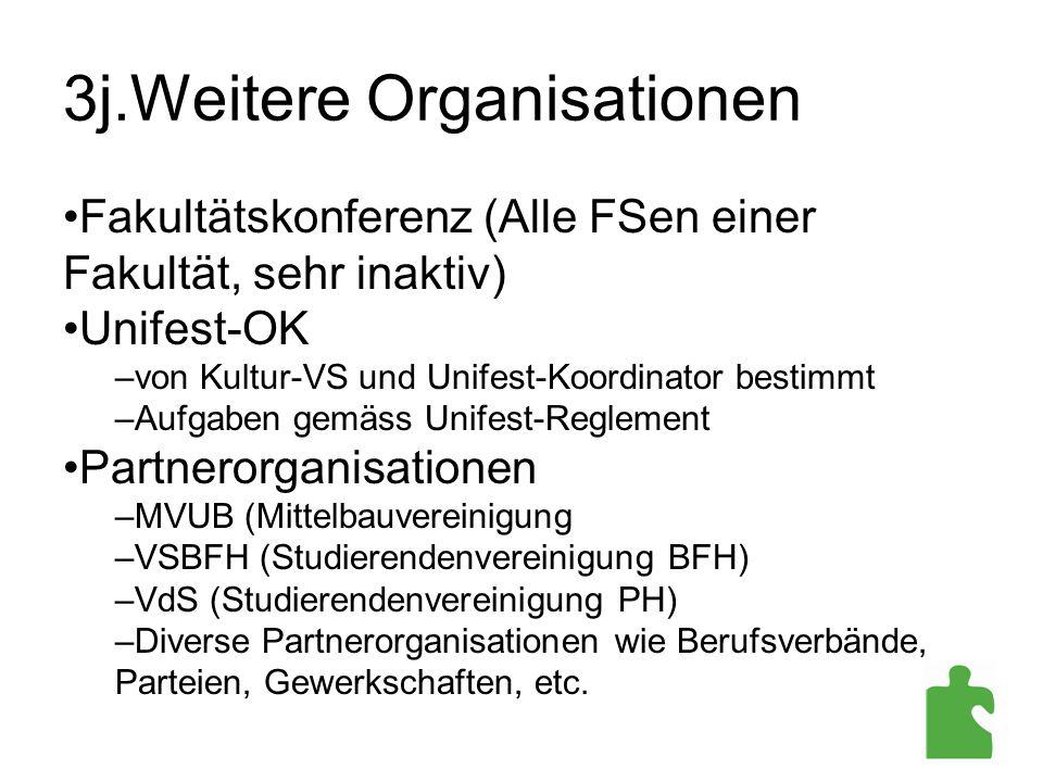 3j.Weitere Organisationen Fakultätskonferenz (Alle FSen einer Fakultät, sehr inaktiv) Unifest-OK –von Kultur-VS und Unifest-Koordinator bestimmt –Aufg