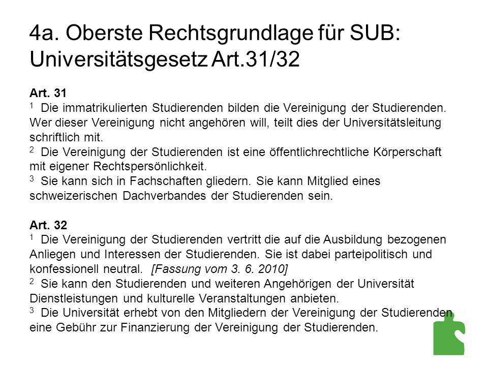 4a. Oberste Rechtsgrundlage für SUB: Universitätsgesetz Art.31/32 Art. 31 1 Die immatrikulierten Studierenden bilden die Vereinigung der Studierenden.